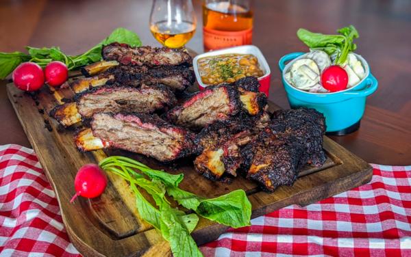 Image of slow smoked barbecue wagyu ribs